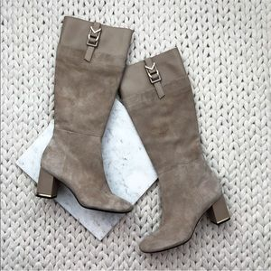 Calvin Klein Candace Nude Suede Heeled Boots